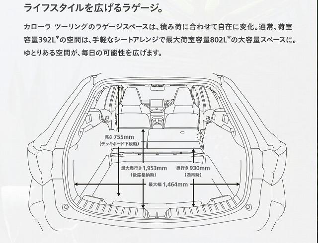 新型カローラ ツーリング 車中泊 荷室寸法